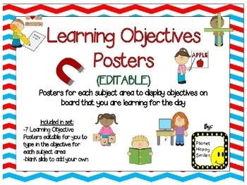 Learning Objectives Posters (EDITABLE) ~ Red, White & Blue Chevron