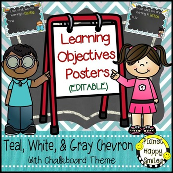 Learning Objectives Posters (EDITABLE) Teal and Chalkboard Theme
