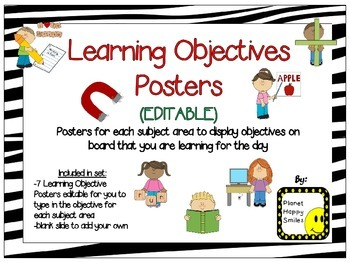 Learning Objectives Posters (EDITABLE) ~ Zebra Print