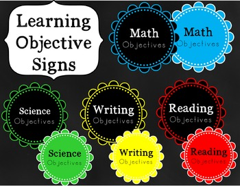 Learning Objectives Signs {FREEBIE}