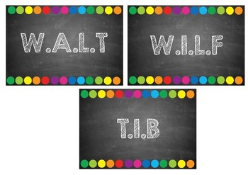 Learning Objectives - WALT, WILF and TIB