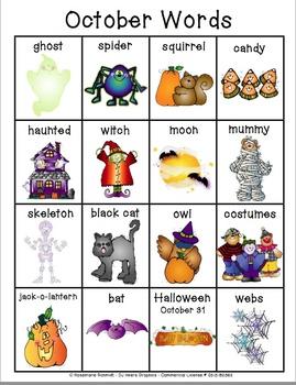 Learning October Words K-4