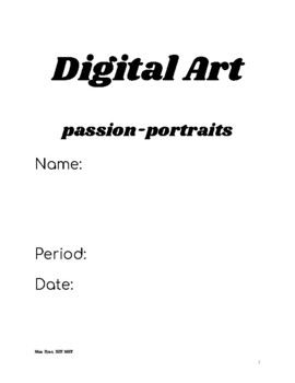 Learning Packet for HS Art Lesson Digital Mixed Media Personal Portrait