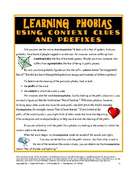 Learning Phobias Using Context Clues and Prefixes