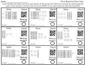 Learning Place Value with QR codes