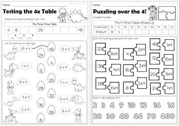 Learning the 0-10 Times Tables - Common Core 3.0A No Prep Mini Pack