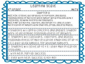 Learning Scales with Common Core Standards aligned to 4th Grade Go Math! Series