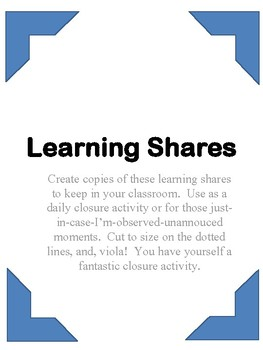 Learning Shares:  How to Nail Classroom Closure