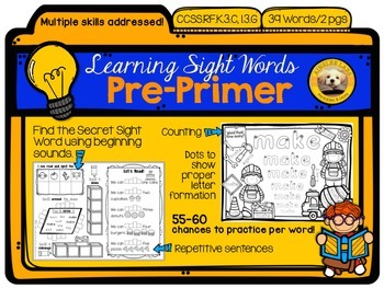 Learning Sight Words: PRE-PRIMER Packet with 78 packed pages