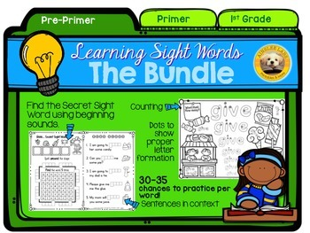 Learning Sight Words: The Bundle (Pre-Primer, Primer, 1st