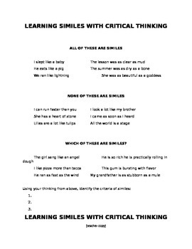 Learning Similes with Critical Thinking