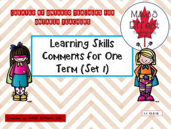 Learning Skill Comments for One Term (Set 1) Ontario Report Cards