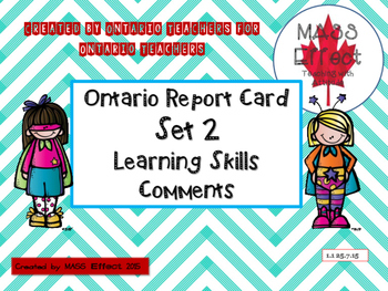 Learning Skill Comments for One Term (Set 2) Ontario Report Cards