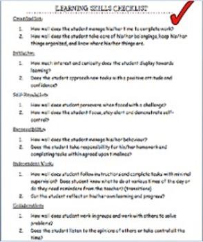 Learning Skills Checklist