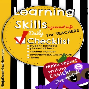 Learning Skills Checklist - Student Info - All in one stop! FREE!!