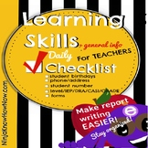Learning Skills Checklist - Student Info - All in one stop