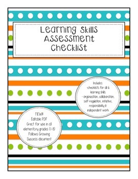 Learning Skills Checklist for Assessment Editable PDF