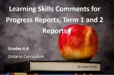 Learning Skills Comments for Gr 4-8 - Ontario