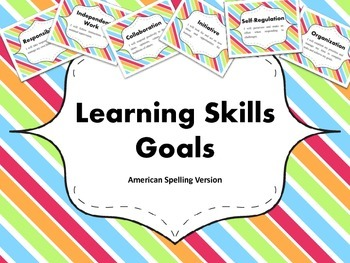 """Learning Skills """"I will"""" Charts {Rainbow Theme} - American Spelling"""