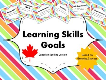 "Learning Skills ""I will"" Charts {Rainbow Theme}  - Canadian/UK Spelling"