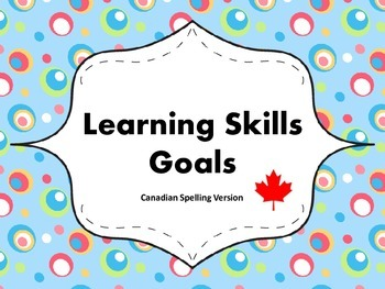 """Learning Skills """"I will"""" Charts {Silly Dots Theme} - Canadian/UK Spelling"""