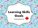 "Learning Skills ""I will"" Charts {Silly Dots Theme} - Canadian/UK Spelling"