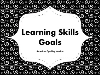 """Learning Skills """"I will"""" Charts {Swirly Theme} - American Spelling"""