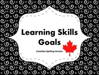 "Learning Skills ""I will"" Charts {Swirly Theme} - Canadian/UK Spelling"