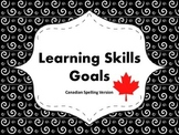 "Learning Skills ""I will"" Charts {Swirly Theme} - Canadian/UK Spelling"