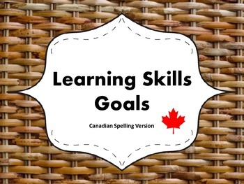 """Learning Skills """"I will"""" Charts {Wicker Theme} - Canadian/UK Spelling"""