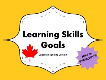 """Learning Skills """"I will"""" Charts {Yellow} - Canadian/UK Spelling"""