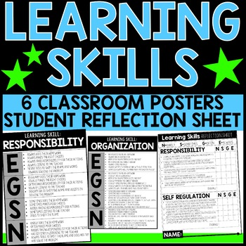 Learning Skills Student Reflection and Classroom Posters