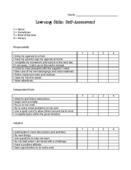 Learning Skills Self-Assessment