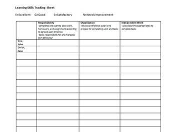 Learning Skills Tracking Sheet - Ontario