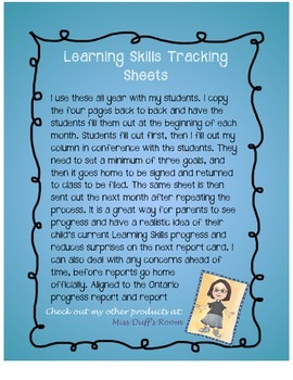 Learning Skills Tracking Sheets