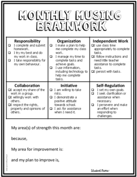 Learning Skills & Work Habits Student Monthly Self-Assessment  FREEBIE
