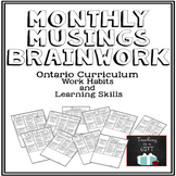 Learning Skills & Work Habits Monthly Self-Assessment {CUSTOMIZABLE}