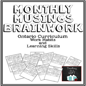 Learning Skills & Work Habits Student Monthly Self-Assessm