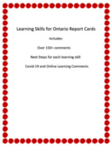Ontario Learning Skills Report Card Comments - For In-clas