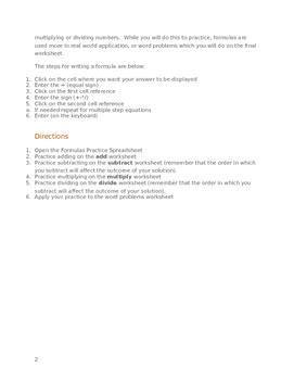 Learning Spreadsheet Formulas