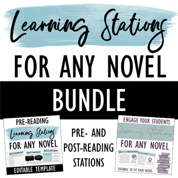Learning Stations for ANY Novel BUNDLE: Pre- & Post-Reading - DISTANCE LEARNING