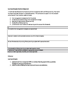 Learning Strategies Brochure Assignment: Health, Study Skills