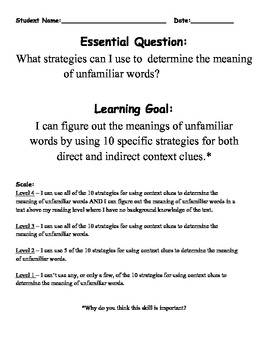 Reading Lessons ~ Learning Strategies for Context Clues with Marzano's Domains