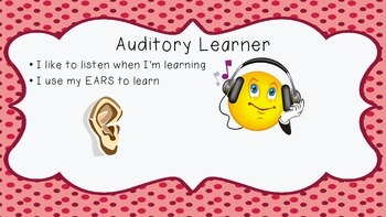 Learning Style Posters for Visual, Auditory, and Kinesthetic Learners