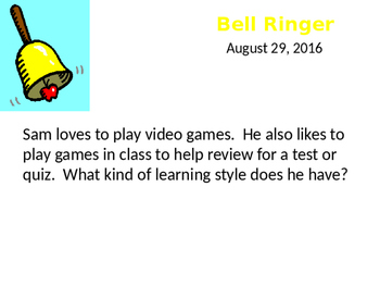 Learning Styles Bellringers