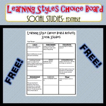 Learning Styles Choice Board- Editable- Social Studies