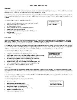 Learning Styles & Multiple Intelligences Study Strategies