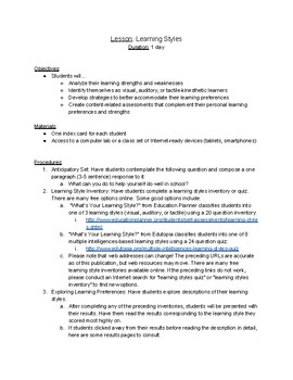 Learning Styles / Preferences Lesson Plan