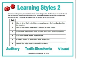 Learning Styles Roll-A-Die 1 and 2