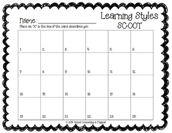 Learning Styles Scoot Game